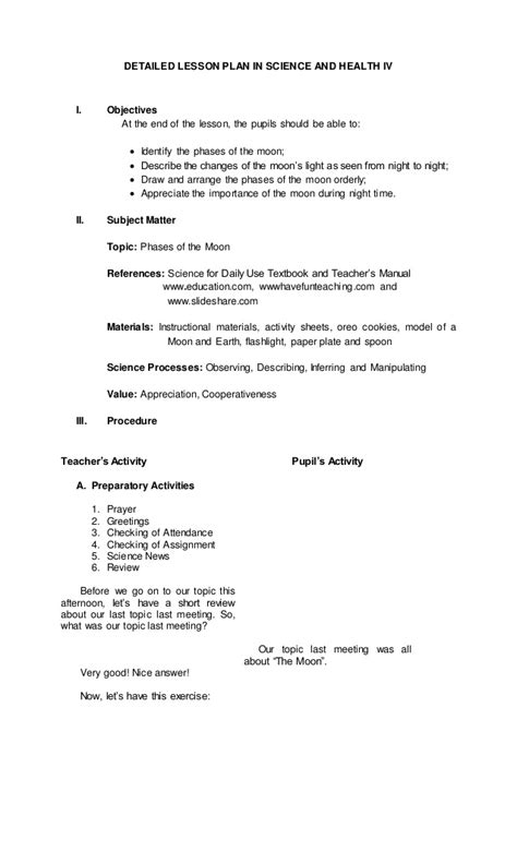 Detailed Lesson Plan In Science And Health Iv Phases Of
