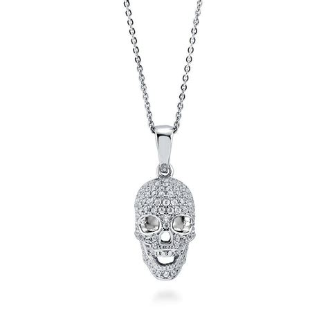 berricle sterling silver cz skull bones fashion pendant
