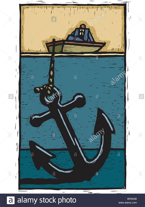 anchor on a boat a businessman on a boat weigh down by a huge anchor stock