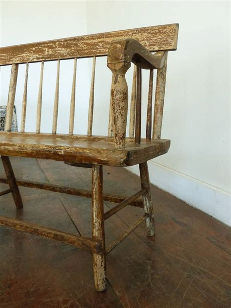 spindle bench 19th century wooden spindle maple or pine benches with original paint at 1stdibs