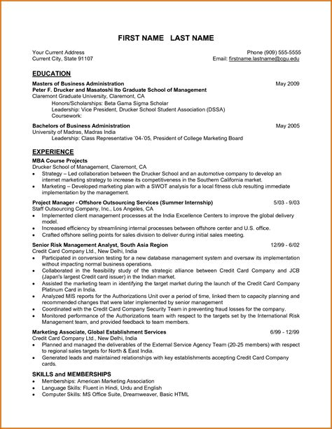 resume format for experienced candidates in india resume templates mba graduates