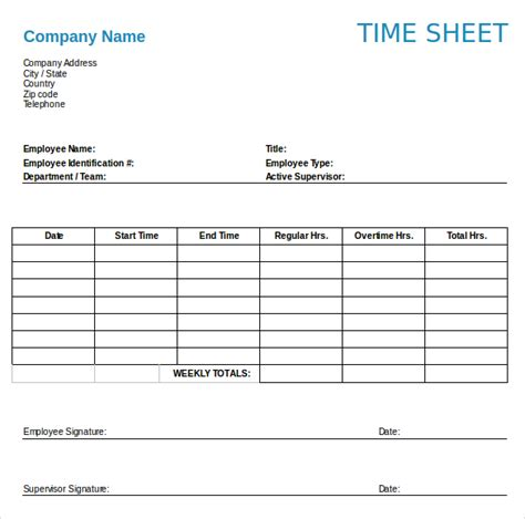 time template 16 weekly timesheet templates free sle exle