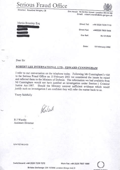 Report Letter Scams 4 Letter From The Serious Fraud Office To Martin Bromley Special Reports Guardian Co Uk