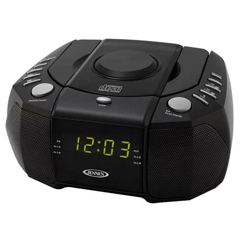 jensen amfm stereo dual alarm clock radio  top loading cd player digital tuner  aux