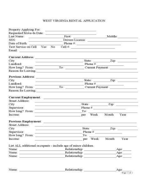 printable virginia state employment application west virginia rental application edit fill sign online