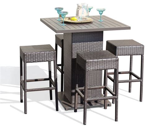 Patio Bar Table Set Venus Pub Table Set With Backless Barstools Outdoor Wicker Patio Furniture Contemporary