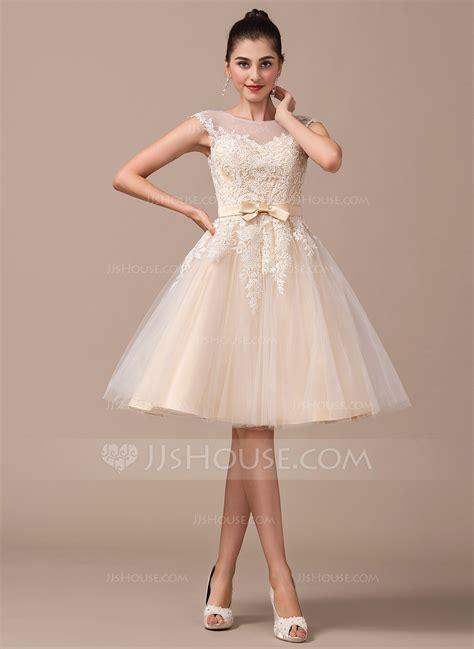 Wedding Dresses Knee Length by A Line Princess Scoop Neck Knee Length Tulle Wedding Dress