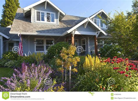 manicured garden and home gresham oregon stock photo