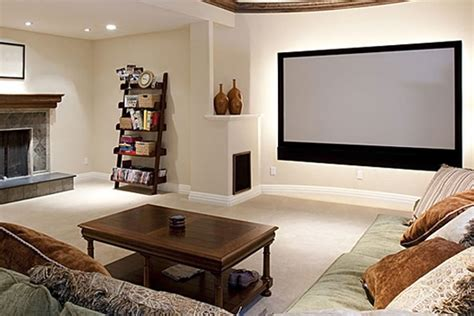minimalist home theater design with sofa decorations