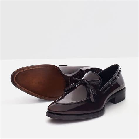 zara loafer shoes zara antik finish leather loafers in black for lyst