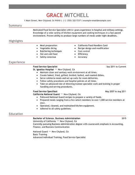 Special Skills Resume Food Service by Great Resume Exles For Customer Service Resume Ideas