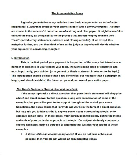 Exles Of Argumentative Essays Introduction by Exle Of A Argumentative Essay