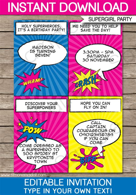 superhero girl party invitations template supergirl party