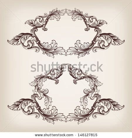 filigree pattern frame vector set vintage border frame baroque filigree engraving