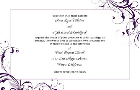 marriage invitation card format in word various