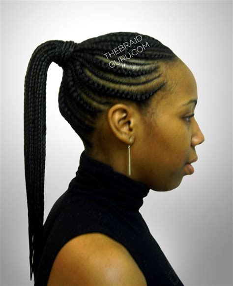 cornrow into ponytail designs biggie small feed in cornrows ponytail side view