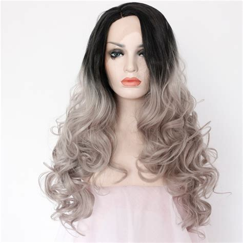 ombre synethic hair two tones ombre lace front wig with black to gray gradient