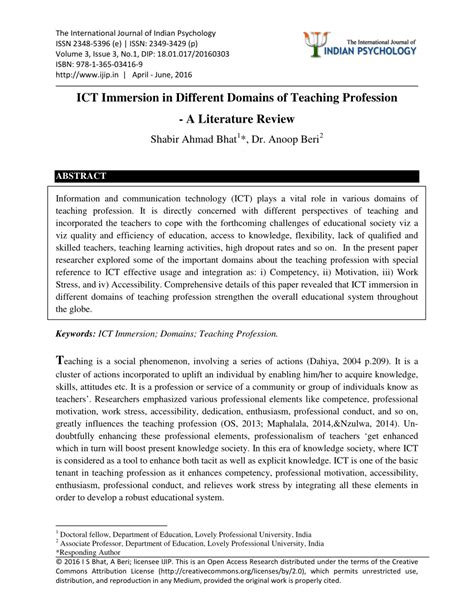 ict immersion   domains  teaching profession  literature review