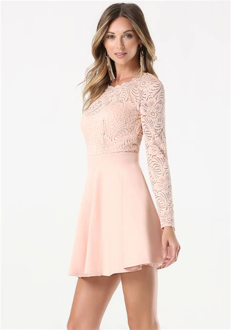 27858 Pink Lace Dress lyst bebe lace backless flared dress in pink