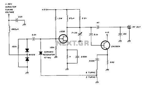 varactor diode oscillator gt oscillators gt varactor tuned 10mhz ceramic resonator oscillator circuit diagram l60606 next gr