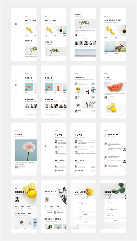 app layout design online dribbble my life app design annex png by zhao legs