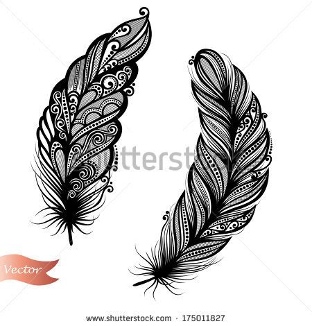 feather tattoo vector stock images similar to id 124603501 decorative feather