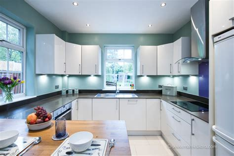 kitchens with blue walls white kitchen dark worktops with blue walls contemporary