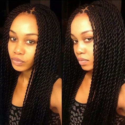 regular box braids the hair used the size of the twists senegalese twists