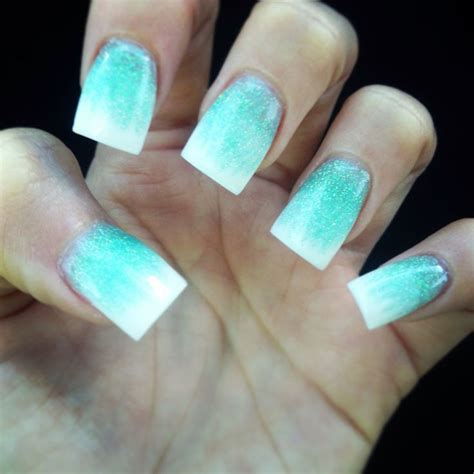 tiffany blue office on pinterest pedicure salon ideas tiffany blue and white ombr 233 acrylic nails nails by cao