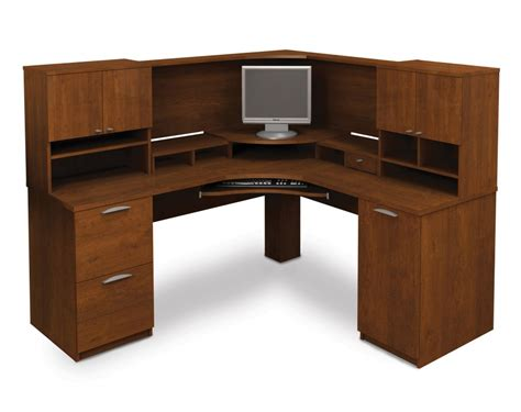 top of desk storage wooden corner computer desk design with cabinet and