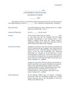 Term Sheet Template Startup by Convertible Note Financing Term Sheet