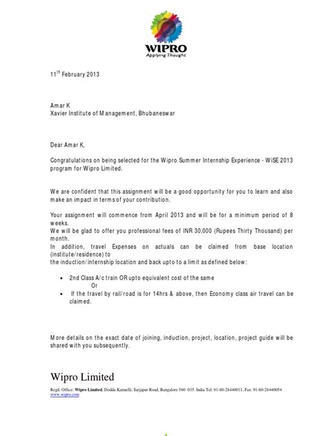 appointment letter format of wipro wipro offer letter business