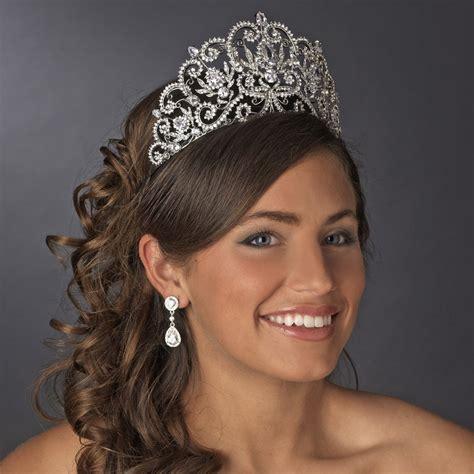 hair styles with rhinestones antique silver crystal royal princess tiara elegant