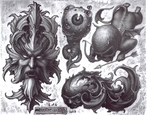 paul booth tattoo designs some paul booth flash sheets hardlines