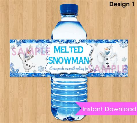 frozen printable melted snow disney frozen bottle labels instant download 2 5x8