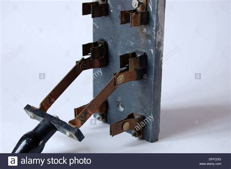 Closeup Antique Old Electrical Fuse Box Breaker Switch