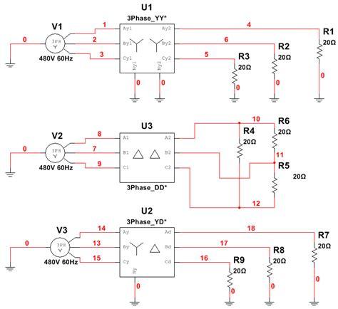 multisim 3 phase transformer models wye wye delta delta