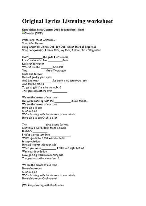 heroes printable lyrics song worksheet heroes eurovision