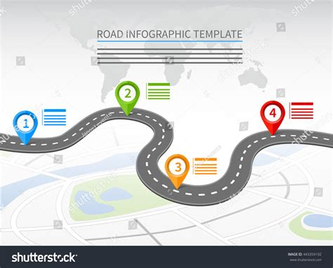 road template road infographic template curvy road four stock vector
