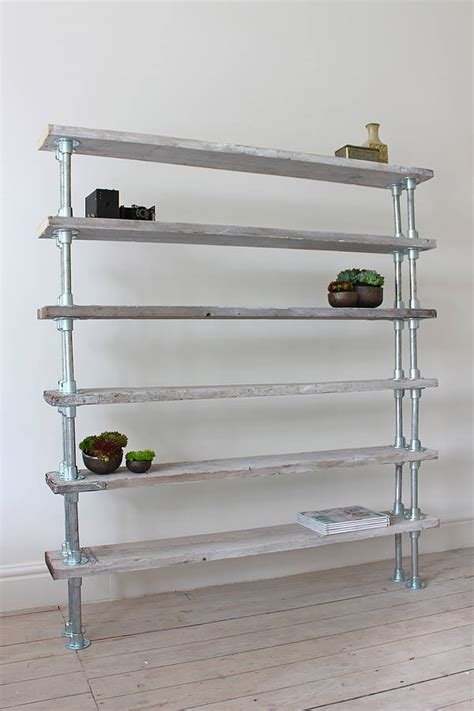 francisco reclaimed wood and steel pipe shelving by