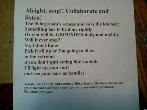 clean this house lyrics mom s vanilla ice note clean the house or else photo
