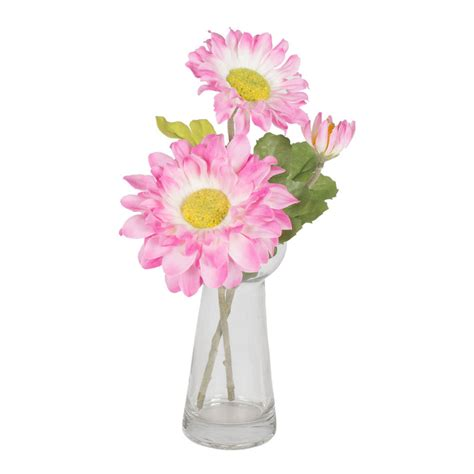 Gerbera Arrangements Vases by 9 Inch Silk Gerbera Arrangement In A Clear Glass