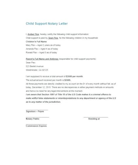 Notarized Letter Format Of Consent To Travel Download Template For Child Support Notarized Custody Agreement Template