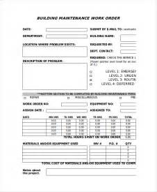 building maintenance program template excel work order template 9 free excel document