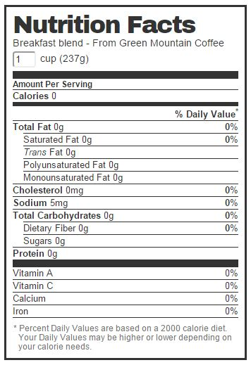 k cup carbohydrates green mountain coffee nutrition facts best mountain 2017