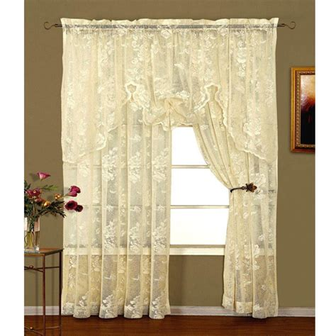 floral lace curtains abbey rose ivory floral lace curtain bedbathhome com