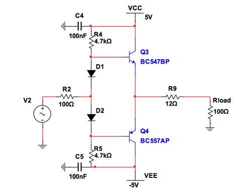 use capacitor in transistor lifier circuit transistors use of diodes and resistors in a push pull lifier electrical engineering