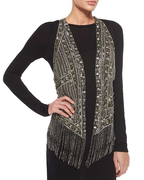 beaded vest haute hippie embroidered beaded vest in silver gunmetal