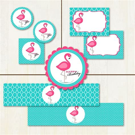 printable card toppers free pink flamingo birthday printable party set flamingo