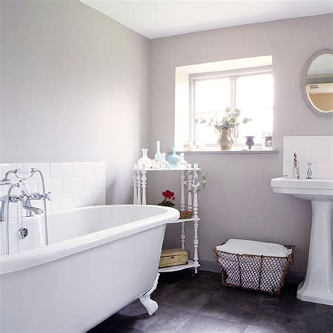 grey country bathroom with rolltop bath decorating ideal home